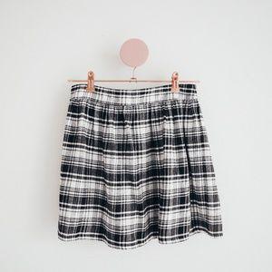 Forever 21 Black & White Plaid Flared Skirt